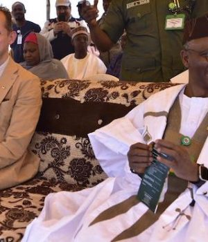 Jesper Kamp, Ambassador of Denmark, and Kaduna State Governor, Malam Nasir El-Rufai at the groundbreaking ceremony of the Damau Milk Farm Project