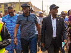 Gov. Sanwo-Olu and deputy at Amu plank market