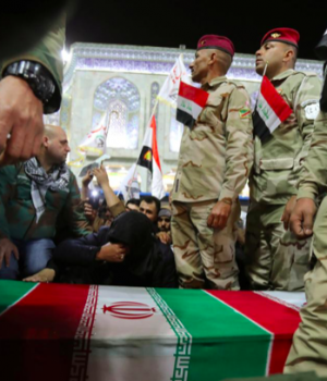 Mourners attend the funeral procession of the Iranian Major-General Qassem Soleimani