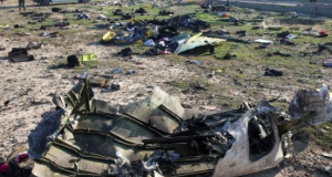 Debris of a plane belonging to Ukraine International Airlines
