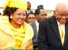 Prime Minister Thomas Thabane (R) attended his inauguration with his current wife