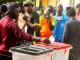 Voters casting votes