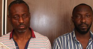 Segun Alaga(L) and Bamidele Falegan( R) arrested for vote buying(
