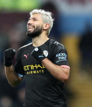 Manchester City's Sergio Aguero celebrates scoring his side's sixth goal of the game during the Premier League match