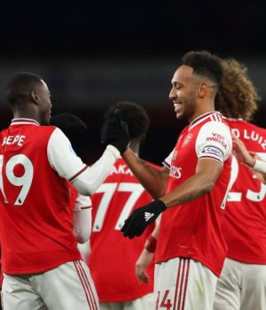 Jubilant Arsenal players celebrate bashing of Newcastle