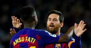 Fati and Messi celebrate Barca's victory over Levante
