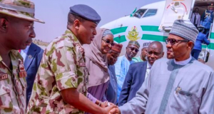 President Buhari arrives Borno from Ethiopia