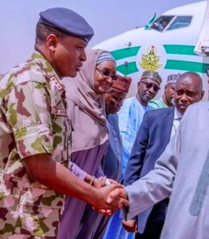 President Buhari arrives Borno from Ethiopia