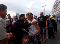 Cambodia's Prime Minister Hun Sen welcomes passenger of MS Westerdam, a cruise ship