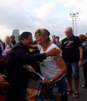 Cambodia's Prime Minister Hun Sen welcomes passenger of MS Westerdam, a cruise ship