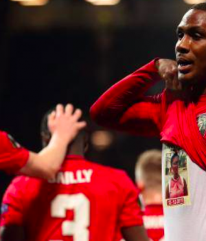 Ighalo celebrates his first Man United goal