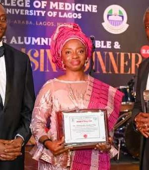 Lagos State First Lady, Dr. (Mrs.) Ibijoke Sanwo-Olu receives an award in education from UNILAG