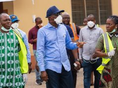 Prince Gbadebo Lawal and Gov. Sanwo-Olu at the COVID-19 Emmergency food market