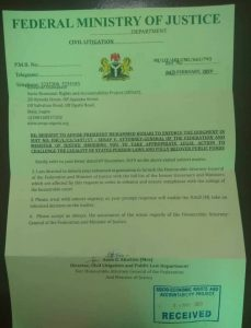 Copy of FG's response to SERAP letter