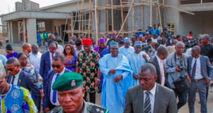 Sen. President Ahmad Lawan with members on a visit to Abuja isolation centre