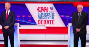Democratic U.S. presidential candidates former Vice President Joe Biden and Senator Bernie Sanders