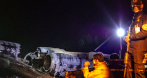 The wreckage of Lion Air Flight RPC 5880