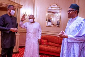 President Buhari with President Umaro Sissoco Embalo and Nigeria's foreign affairs minister, Geoffrey Onyeama