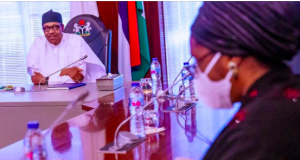President Buhari with Zainab Ahmed, minister of finance,