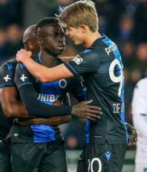 Krepin Diatta is congratulated after scoring a goal in his side's final match before lockdown