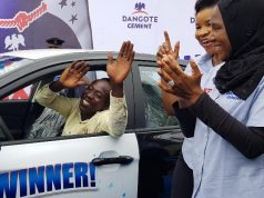 One of the past winners of Dangote Bag of Goodies