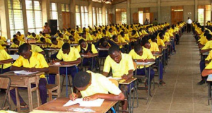 Students writing exams