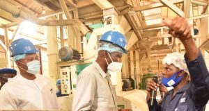 Dr Ojougboh at Elele Rice Mill.