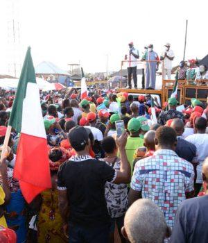 Gov. Obaseki, Phillip Shaibu, Dan Orbih during a campaign