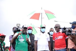 Gov. Godwin Obaseki leading the Edo Voters Volunteers Assembly rally in Benin