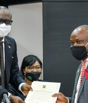 Sanwo-Olu (left); Director, Office of the Public Defender, Dr. Babajide Martins (right) and the Solicitor General/Permanent Secretary, Ministry of Justice; Ms. Shitabey Titilayo (middle)