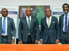 L-R: Leonard Akah, Director, Aliyu Abdulhameed, MD/CEO, NIRSAL, Benjamin Agili of Royal Exchange