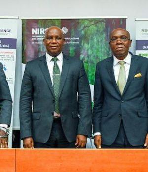 L-R: Leonard Akah, Director, Aliyu Abdulhameed, MD/CEO, NIRSAL, Benjamin Agili of Royal Exchange