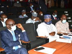 L-R: NNPC GMD, Mallam Mele Kyari; Chairman, House of Representatives Committee on Petroleum (Upstream), Hon. Musa Sarki Adar; and NNPC Chief Operating Officer, Upstream, Mr. Adokiye Tombomieye, watching a presentation by one of the business units in the Upstream arm during the oversight visit.