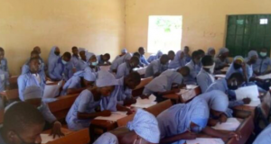 Chibok School girls writing WAEC