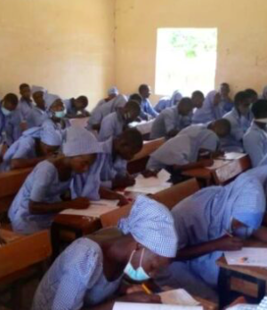Chibok School girls writing WAEC