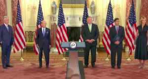 (L-R) US National Security Adviser Robert O'Brien, Secretary of Commerce Wilbur Ross, Secretary of State Mike Pompeo, Defense Secretary Mark Esper and the US Representative to the UN Kelly Craft deliver remarks to the media on Iran Snapback Sanctions.