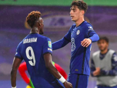 Chelsea's Toni Abraham and Kai Havertz celebrate