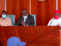 Godwin Obaseki flanked by Philip Shaibu and other