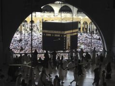 Muslim worshippers circumambulate the Kaaba