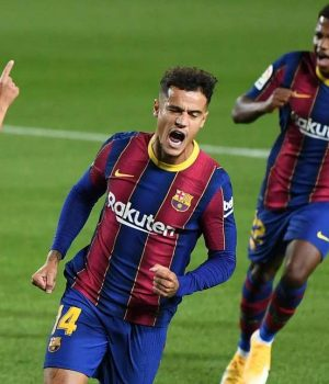 Countinho celebrates his La Liga goal