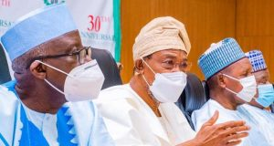 m Left: Police Affairs Minister, Mohammed Dingyadi, Interior Minister Rauf Aregbesola and Katsina State Governor Masari at the stakeholders forum, Katsina.
