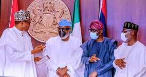 President Buhari, Govs Akeredolu and Sanwo-Olu