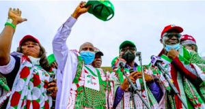 Fayose with others at PDP rally in Akure