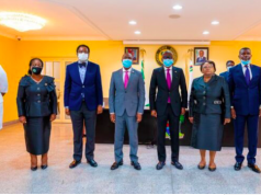 Gov. Sanwo-Olu with members of the judicial panel of inquiry and restitution