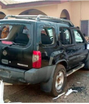 One of the SUVs attacked at the palace