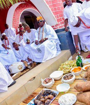 Oba Ogunwusi Enitan, Ooni of Ife at the naming ceremony of Prince