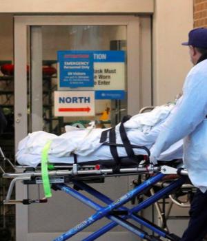 A citizen wheeled into hospital