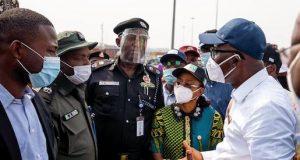Gov. Babajide Sanwo-Olu speaking with Lagos Police commissioner, Hakeem Odumosu