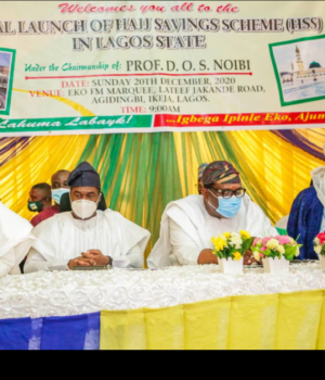 Zikrullah Hassan, Chairman, NAHCON, Dr Obafemi Hamzat, Lagos State Deputy Governor; Prince Anofiu Elegushi, Commissioner for Home Affairs and Sheikh Oluwatoyin Abbou-Noulla , the Chief Imam of Lagos State