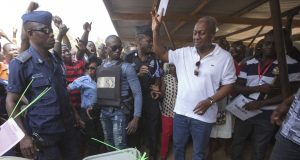 John Dramani Mahama during the polls